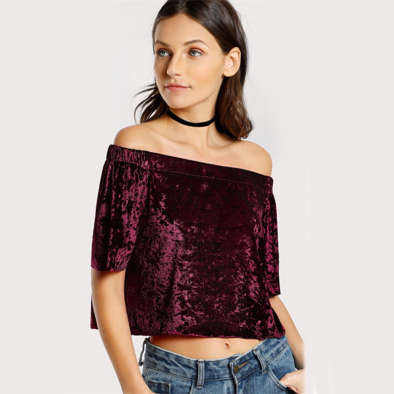 Women's Maroon Off-Shoulder Velvet Crop Top with Short Sleeves