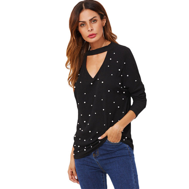 Women's Full Sleeves Black Top with Beading on the Front