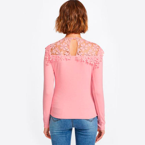 Women's Elegant Slim Fit Long Sleeves Top for Autumn with Guipure Lace