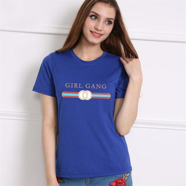 "11 Bright Colors of ""Girl Gang"" T-Shirts for Women in 6 Sizes (XS to XXL)"