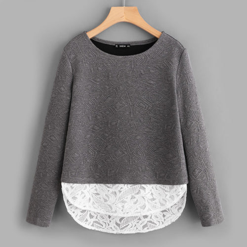 Women's Gray Color Embroidered Mesh Hem Textured Sleeves Top