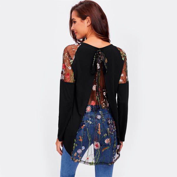 Women's Lace Shoulder Long Sleeves Black Long Top in 4 Sizes