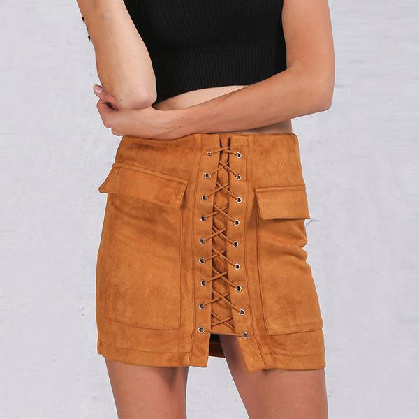 84e8a306da Women's High Waist Laced-up Suede Leather Pencil Mini Skirt With Long  Pockets Decoration in 5 Colors