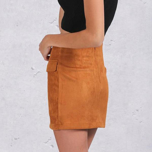 Women's High Waist Laced-up Suede Leather Pencil Mini Skirt With Long Pockets Decoration in 5 Colors