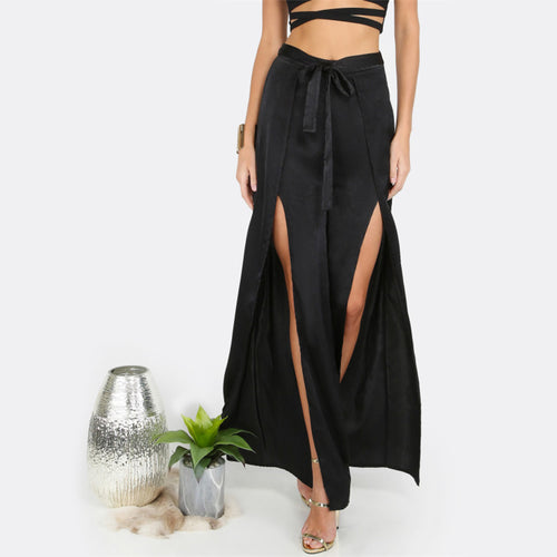 Women's Sexy Mid Waist Slit Belted Pants in Black Color