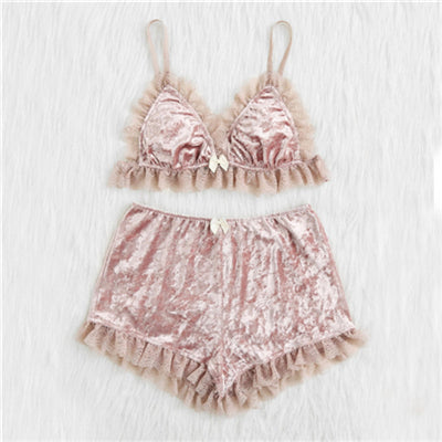 Sexy Bralette and Shorts Sleepwear for Women in Pink
