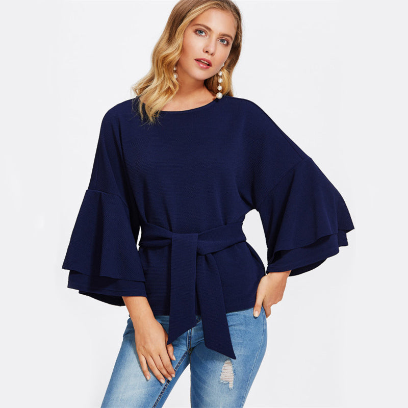 Women's Layered Long Flare Sleeve Textured Blouse With Front Tie Belt