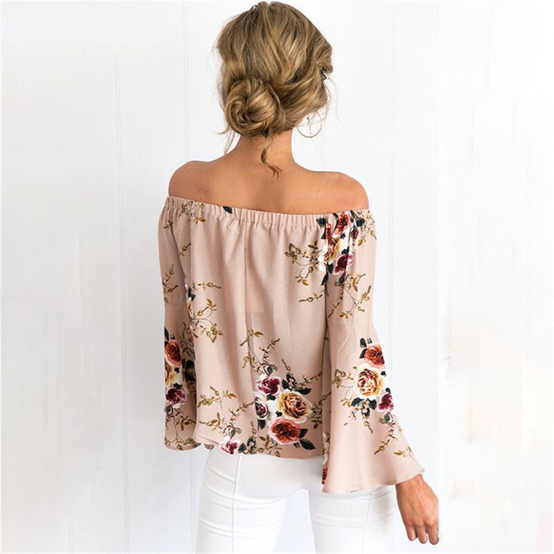 6 Colors of Women's Sexy Off-Shoulder Flare Sleeves Bohemian Tops