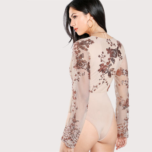 Women's Sexy Full Sleeves Body Suit with Elegant Sequin Decoration
