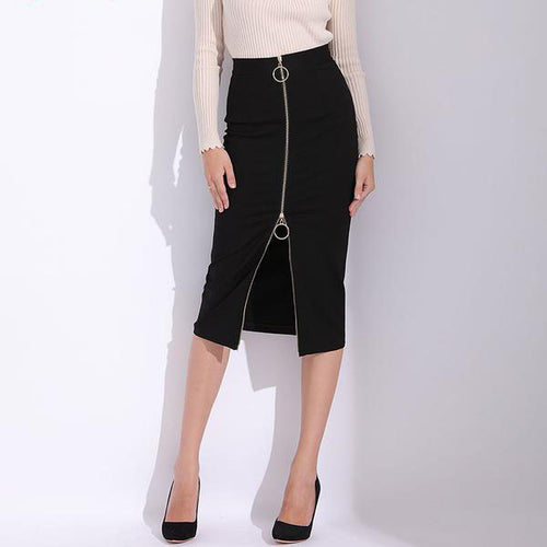 "Women's High Waist Elegant, a Little Below the Knee"" Black Pencil Skirt in Small to Plus Sizes"