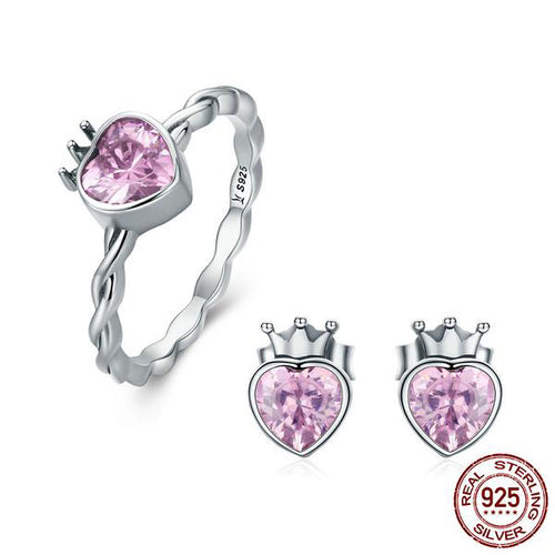 Gorgeous Heart and Royal Crown Ring and Earrings Set, Crafted from Silver and Pink Topaz like Crystal