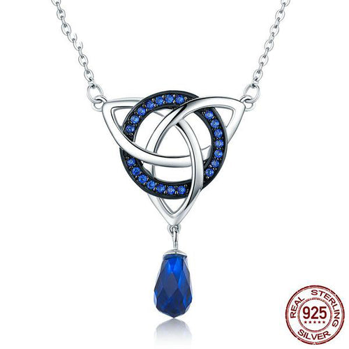 Designer Pendant with Chain, Crafted from Silver and Elegant Gemstones like Blue Crystals