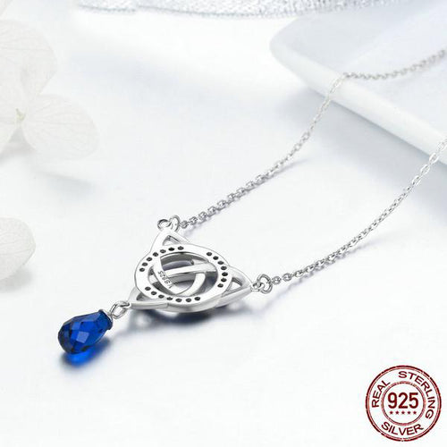 Gorgeous Designer Pendant with Chain, Crafted from Silver and Elegant Gemstones like Blue Crystals