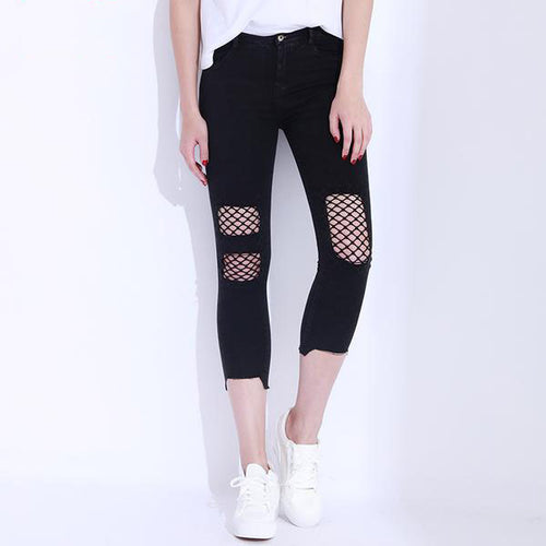 Women's Skinny Ripped Jeans With Sexy Net Design in Black and Dark Blue Colors