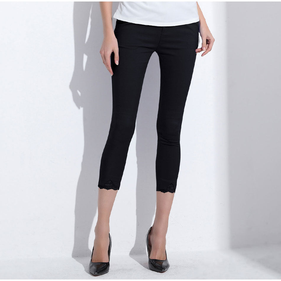 Women's Skinny Capri Pencil Pants with Laced Bottom in 4 Colors