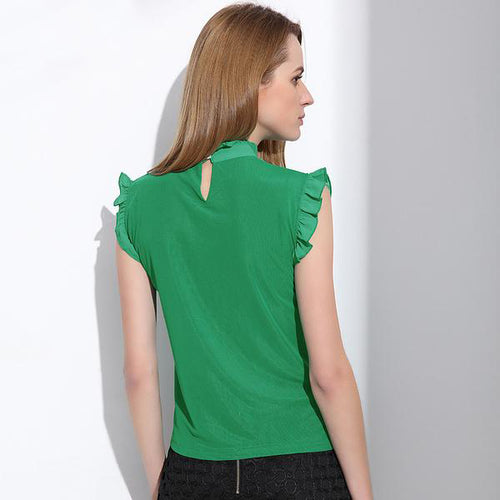 Women' s Elegant Green Mesh Chiffon Top