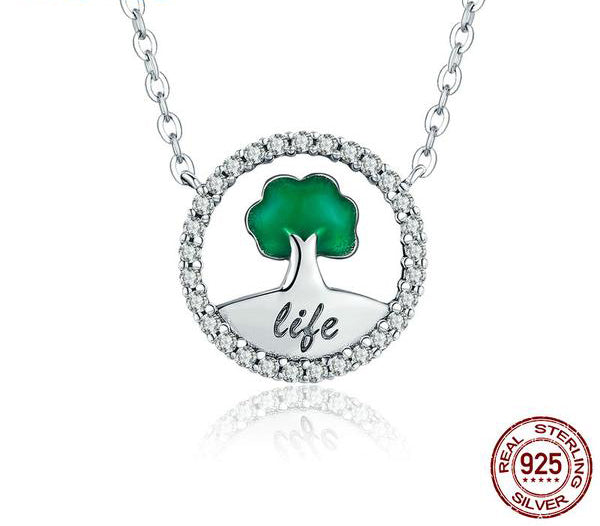 A cute Tree in the Circle Pendant Necklace for Women - Grow with the Life