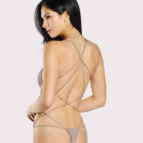 Women's Sexy Skinny Backless Spaghetti Strap Bodysuit