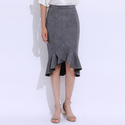 Women's Elegant High Waist Suede Leather Trumpet Skirt with Ruffled Bottom
