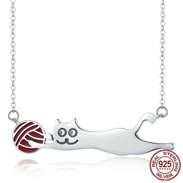 Playful Cat - A Cute Pendant with Chain Crafted from Silver