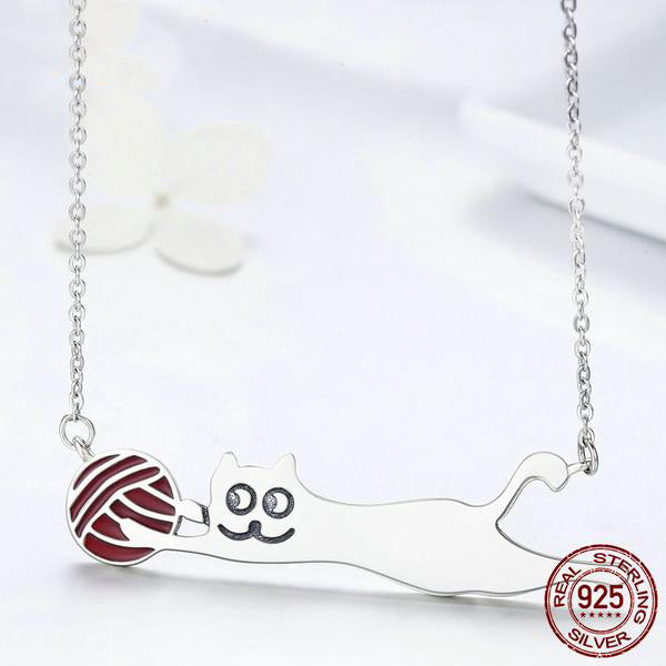 Women's Silver Pendant Necklace with Cat playing with a ball
