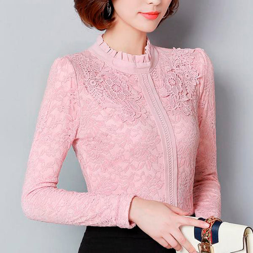 Women's Lace Blouses for Winters in 2 Colors and 6 Sizes