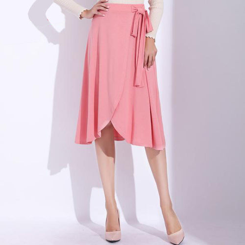 Women's High Waist Casual Long Skirts in Cool Pink and Classy Black Colors