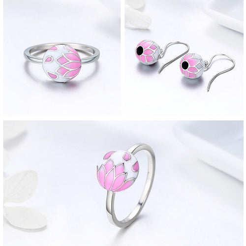 Crafted from Silver, Women's Floral Ring and Earrings Set