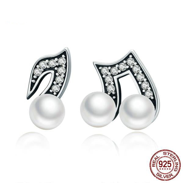 Cute Musical Notes Jewelry Sets, Crafted from Silver, Diamond like Crystals and Pearls