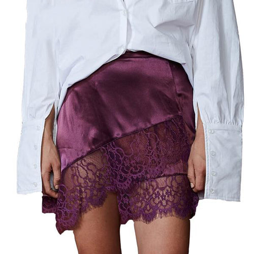 Women's Sexy High Waist Satin Mini Skirt with Fringe Lace