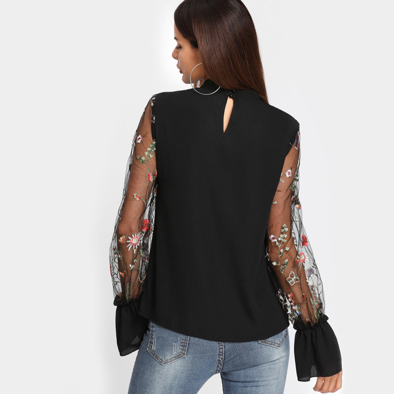 Women's Embroidered Floral Mesh Long Sleeve V-Neck Elegant Blouse