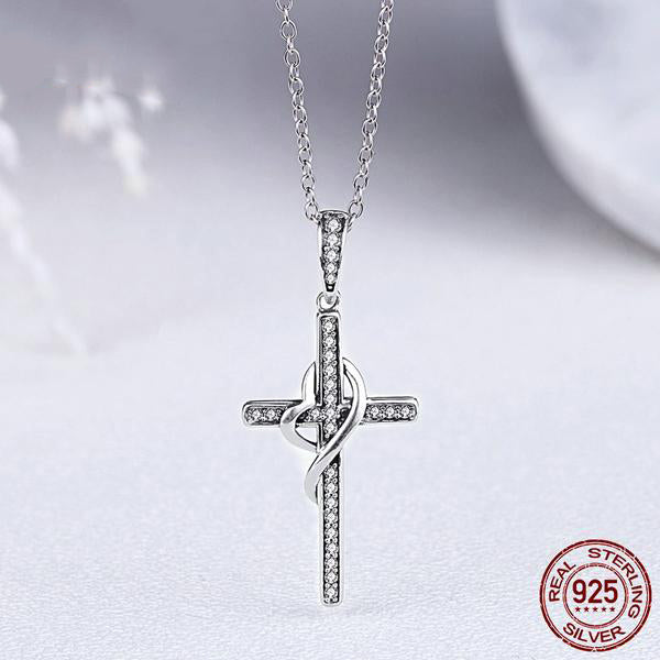 Cross with heart pendant necklace for women