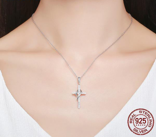 Faith in Heart - Elegant Pendant Crafted from Silver and Diamonds like Crystals