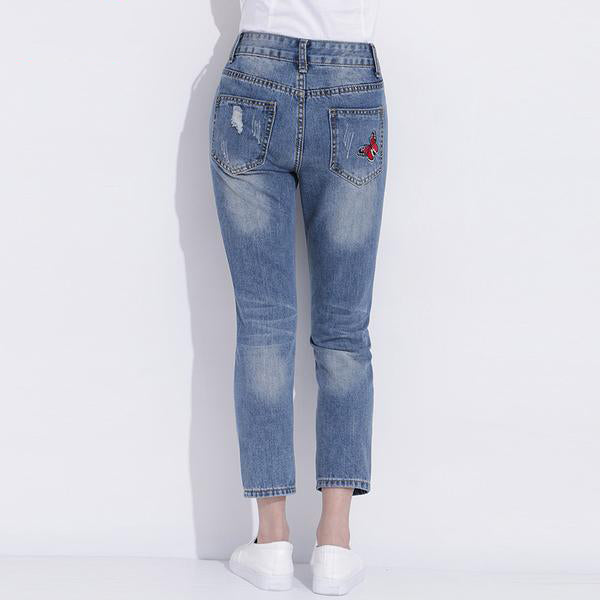 Women's Ripped High Rise Jeans With Embroidery