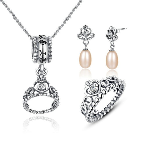Feel Royal with this Cute Crown Jewelry Set  Crafted from Silver and Crystals and Pearls