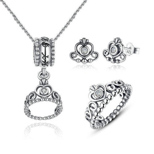 Diamond in the Heart - Feel Royal with this Cute Crown Jewelry Set  Crafted from Silver and Crystals - 2 Designs