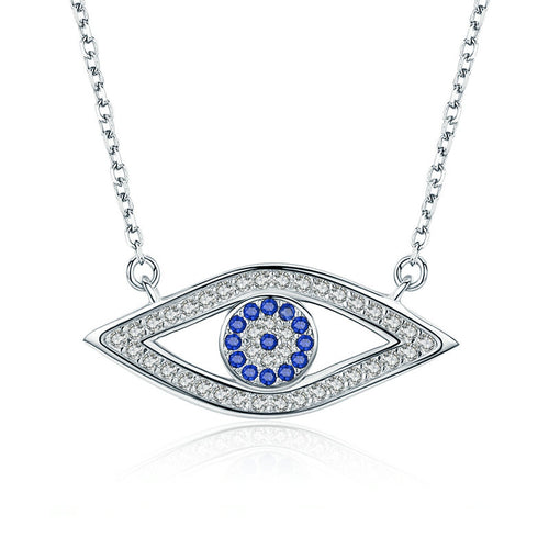 Cute Eye Shaped Pendant Necklace, Crafted from Silver and Crystals