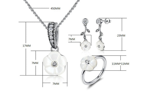 Floral Beauty - Flower with Leaves - Cute Earrings, Necklace and Ring Jewelry Set Crafted from Silver and Crystals