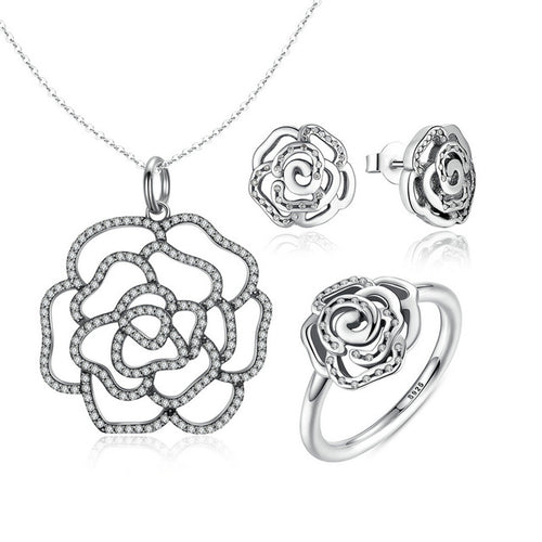 Women's Cute Jewelry Set with Abstract Rose Design, Crafted from Silver and Diamonds like Crystals