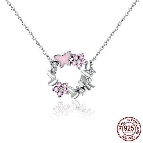 Lovely Butterfly on the Flowers Pendant with Chain, Crafted from Silver and Elegant Crystals