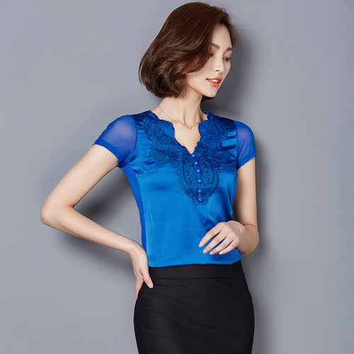 Women's Short Sleeve Silky Lace Tops in 3 Colors