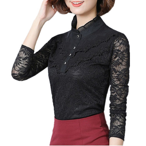 Women's Long Sleeves Autumn Blouses in Black and White Colors