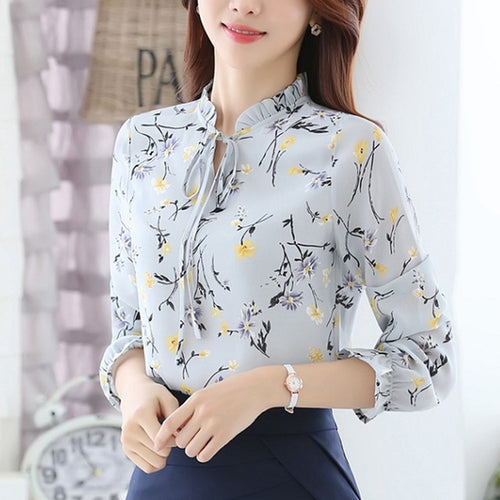 Women's Autumn Chiffon Floral Print Blouses in 3 Colors and 6 Sizes