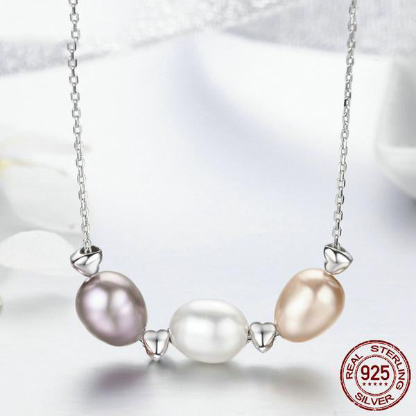 Cute Colorful Pearls and Silver Hearts Pendant Necklace, Crafted from Silver