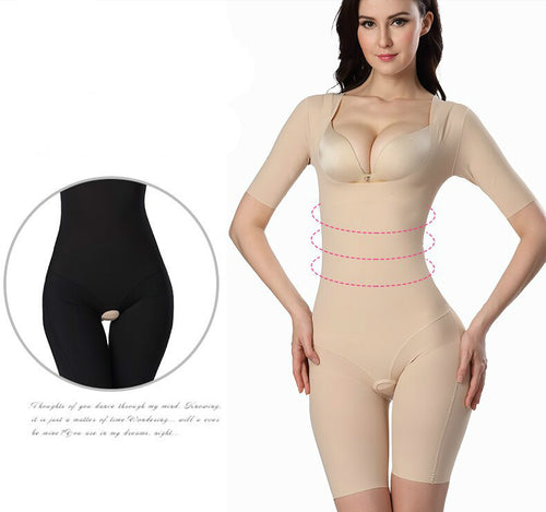 Women's Short Sleeve Body Shaping One Piece Bodysuit for Belly, Hips and Thighs