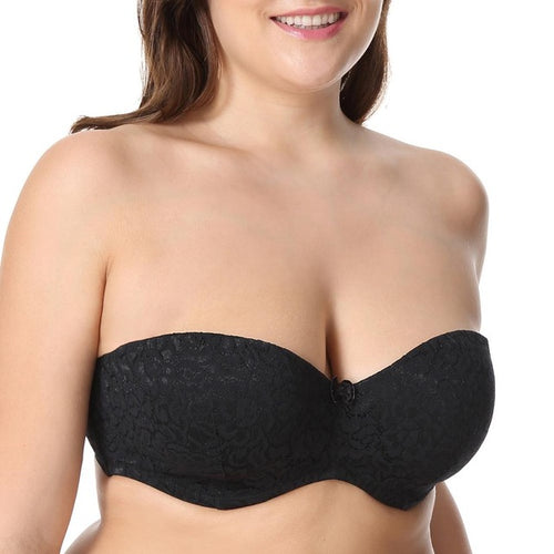 Bandeau-style Multi-way Strapless Silicone Strips Bra with Underwire in Black and White Colors