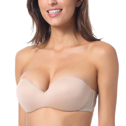 Strapless Bras - Padded Convertible Multi-way, Underwire Push-Up Bras in 3 Colors