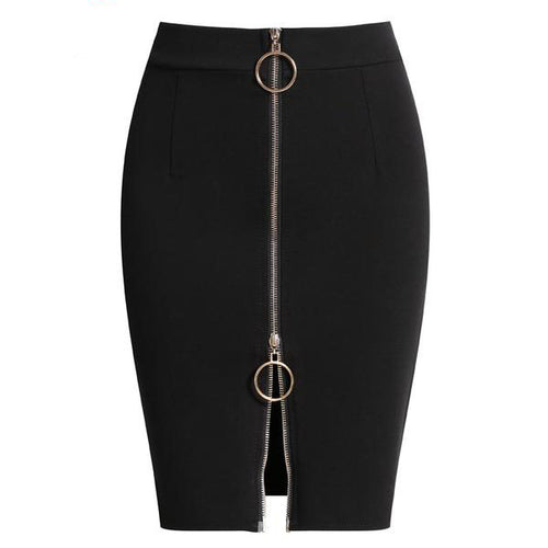 Women's High Waist Elegant Above Knee Red and Black Pencil Skirt in Small to Plus Sizes