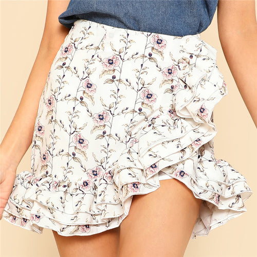 Women's Cute and Sexy High Waist Skirt With Floral Print and Asymmetrical Bottom