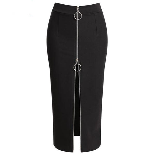 Women's High Waist Elegant Long Black Pencil Skirt in Small to Plus Sizes